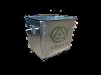 Оцинкованный нержавеющий мусорный контейнер для ТБО объемом 1100 литров (Евро контейнер), на колесах