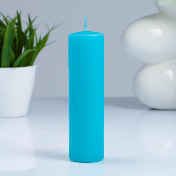 Свеча-цилиндр, 4×15 см, 23 ч, бирюза