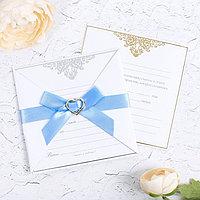 Свадебное приглашение с брошью «Соединятся две судьбы в одну», МИКС с тиснением, 12 х 12 см