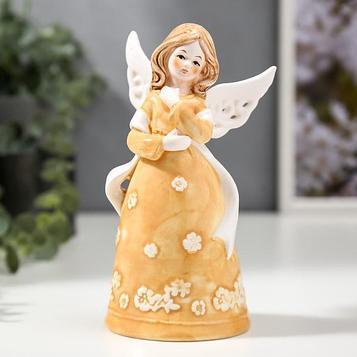 """Сувенир керамика колокольчик """"Ангел-девочка в персиковом платье с лентой"""" 16,8х7,5х9,1 см"""