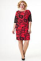 Женское летнее трикотажное красное нарядное большого размера платье Algranda by Новелла Шарм А3765 52р.