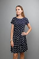 Женское летнее хлопковое платье Mita ЖМ1044 синий_горох 46р.