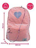 Рюкзак школьный Сердце/ подростковый/ для девочек/ мягкий/ розовый