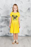 Детское для девочек летнее трикотажное желтое платье GuliGuli П-49 желтый+собака 104-56р.