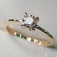 Золотое кольцо с бриллиантами 0.30Сt SI1/J, EX - Cut, фото 1
