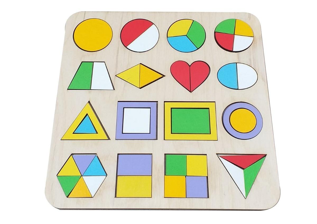 Деревянная игрушка Сортер «Геометрические фигуры. Части и целое»