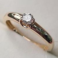 Золотое кольцо с бриллиантами 0.16Сt VS1/J, EX - Cut, фото 1