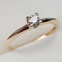 Золотое кольцо с бриллиантами 0.10Сt VS1/J, EX - Cut, фото 1