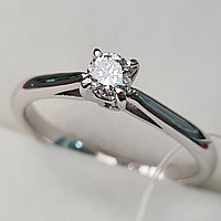 Золотое кольцо с бриллиантами 0.17Сt VS1/J, EX - Cut, фото 1