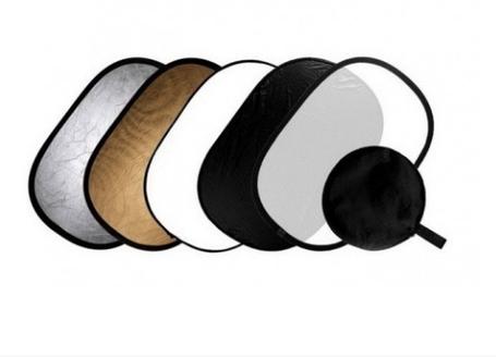 Отражатель (лайт - диск) 150-200 см 5 в 1 - золото, серебро, белый, чёрный, рассеиватель, фото 2