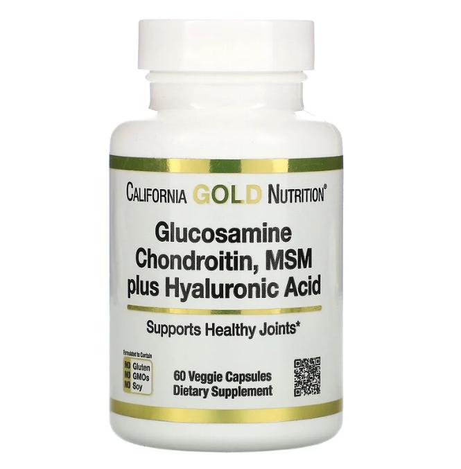 California Gold Nutrition, глюкозамин, хондроитин и МСМ с гиалуроновой кислотой, 60 растительных капсул