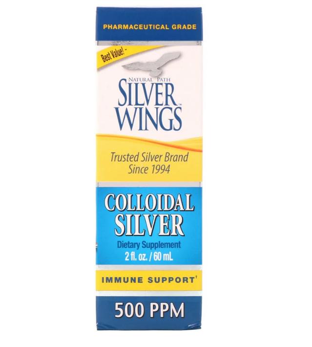 Natural Path Silver Wings, Коллоидное серебро, 500 ч/млн, 60 мл (2 жидких унции)