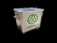 Оцинкованный нержавеющий мусорный контейнер для ТБО объемом 1100 литров, на колесах, с крышкой