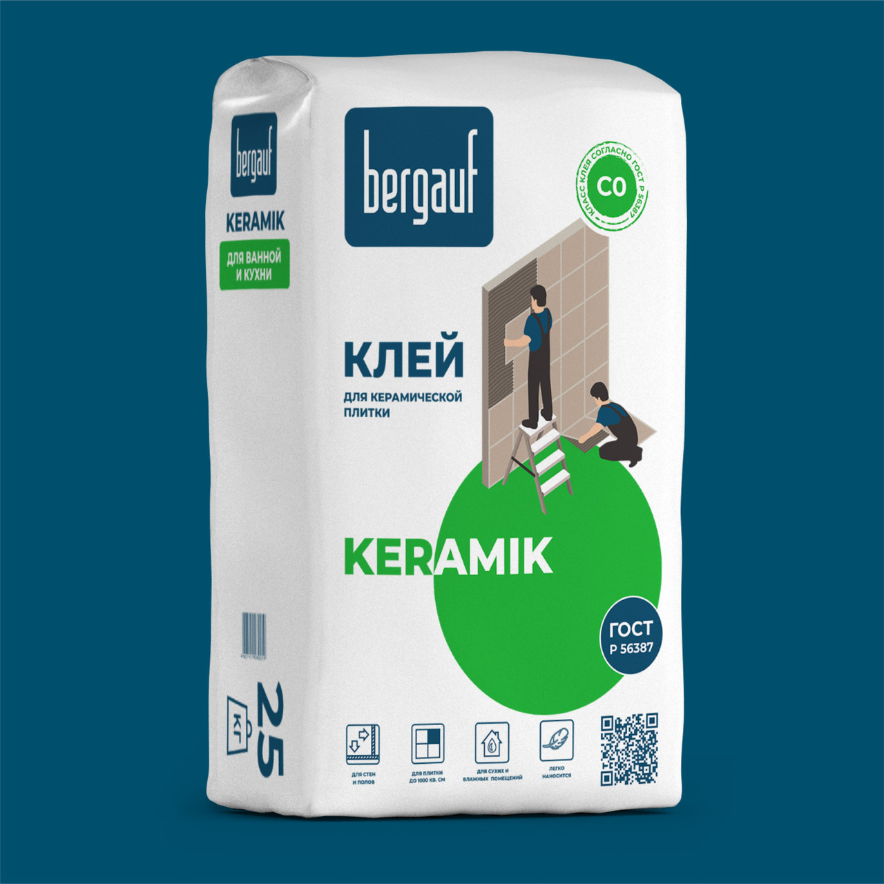 Клей KERAMIK для керамической плитки, 25 кг, Bergauf