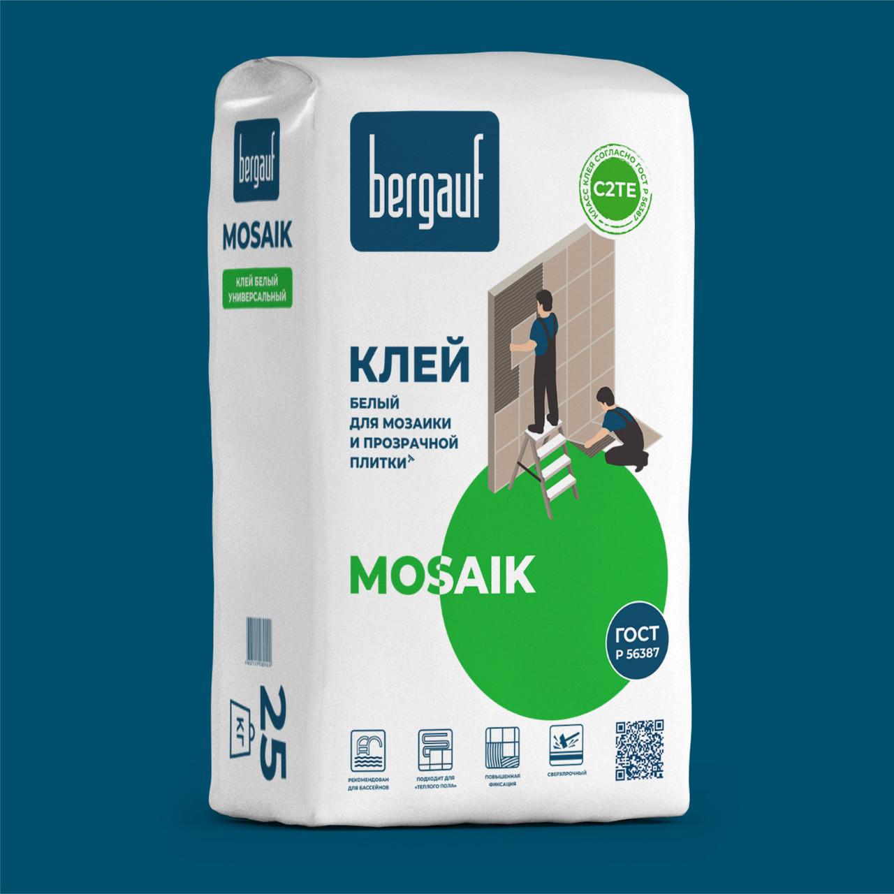 Белый клей MOSAIK для мозаики и прозрачной плитки, 25 кг, Bergauf