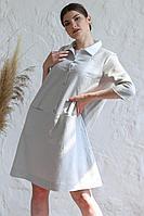 Женское летнее льняное серое нарядное платье Romgil 20с276-40 серый 42р.