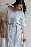 Женское летнее льняное серое нарядное большого размера платье Romgil 20с276-47 светло-серый 46р.