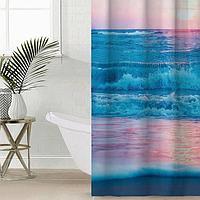 Штора для ванной комнаты Сирень «Нежные волны в закате», 145×180 см, оксфорд