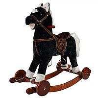 Качалка лошадка Pituso GS2033W с колёсами черная