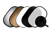 Отражатель (лайт - диск) 60-90 см с ручкой  5 в 1 - золото, серебро, белый, чёрный, рассеиватель, фото 2