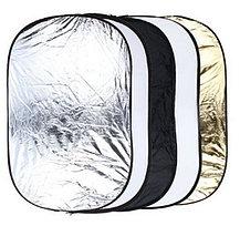 Отражатель (лайт - диск) 60-90 см с ручкой  5 в 1 - золото, серебро, белый, чёрный, рассеиватель, фото 3