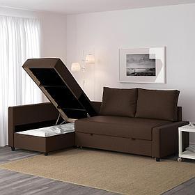 FRIHETEN ФРИХЕТЭН Удобный диван и козетка днем и комфортная двуспальная кровать ночью.