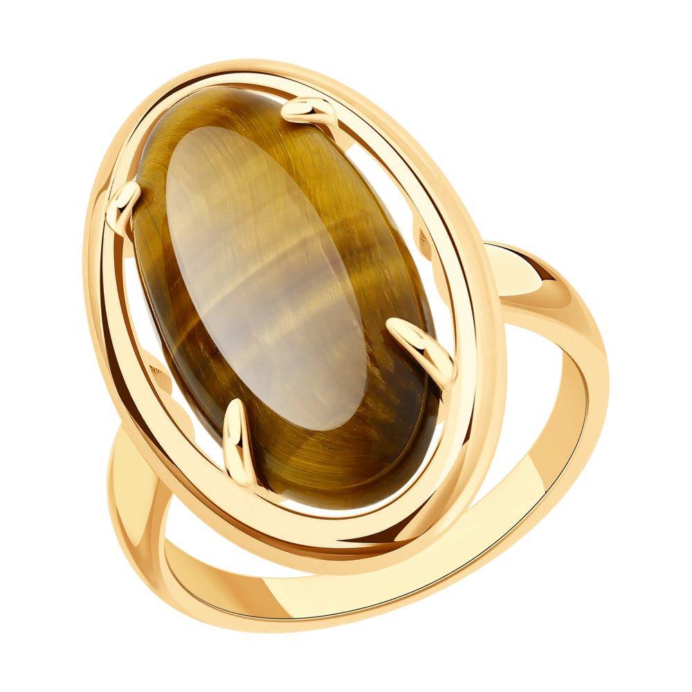 Кольцо из позолоченного серебра с тигровым глазом