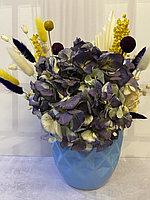 Композиция из сухоцветов в синем кашпо, высота 35-45 см ,размах 30 см