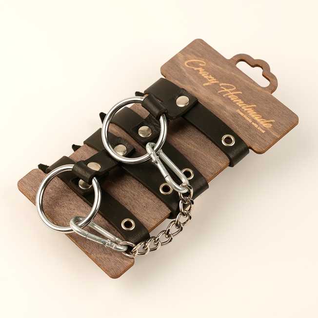 Однослойные наручники из двух ремешков из натуральной кожи