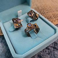 Комплект серьги и кольцо / серебро / аметист / топаз