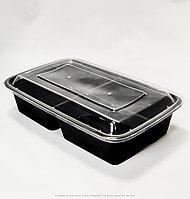 Контейнер прямоугольный с крышкой на 3-секций (1000мл) ЧЕРНЫЙ