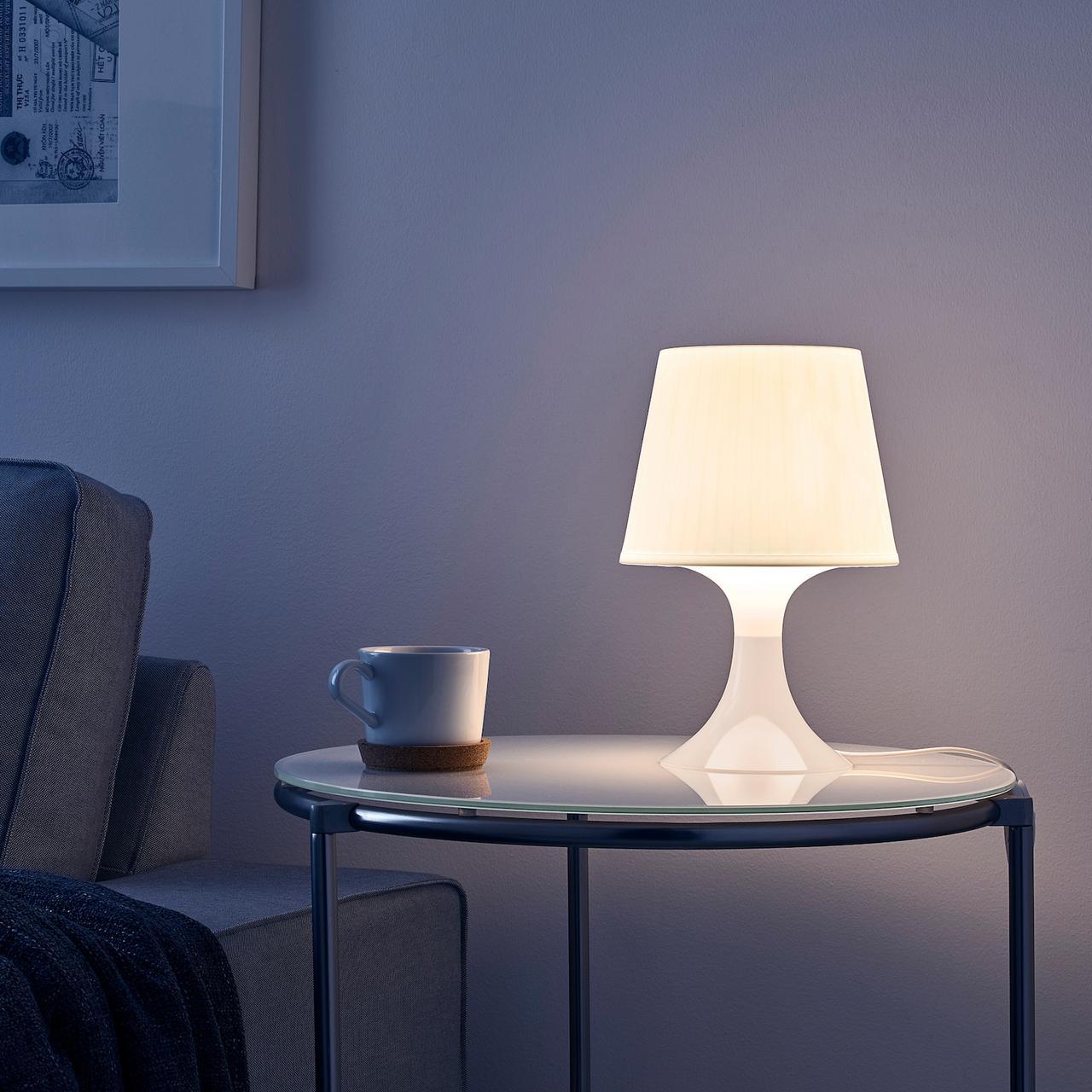 LAMPAN ЛАМПАН Лампа настольная, белый29 см