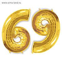 """Шар фольгированный 40"""" «Цифра 6/9», цвет золотой"""
