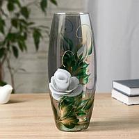 Ваза FLORA 'Белая роза' (дымка) d-8см 11,5х26 см