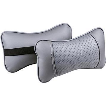 Подушка автомобильная, для шеи Balaton, экокожа, темно серый, 2 шт