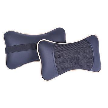 Подушка автомобильная, для шеи Sector, экокожа-текстиль, бежевый/черный, 2 шт