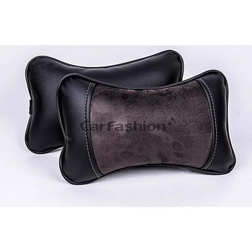 Подушка автомобильная, для шеи Stalker, экокожа-велюр, темно-серый/черный, 2 шт