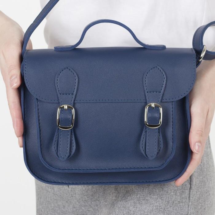 Сумка женская Медведково, отдел на клапане с 2-я кнопками, наружный карман, длинный ремень, цвет синий - фото 3