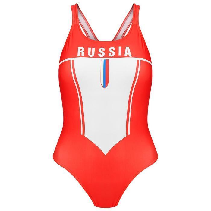 Купальник спортивный, слитный, подростковый RUSSIA, размер 36