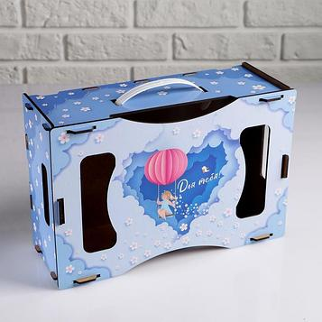 """Подарочный ящик кашпо 30×20×12 см Весна """"Для тебя"""", деревянный, с принтом"""