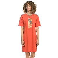Платье-футболка женское, размер S, цвет оранжевый