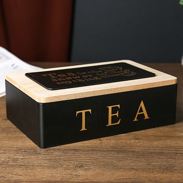 """Шкатулка дерево с делениями """"Чайная"""" чёрная с золотом 7,5х15х23 см"""