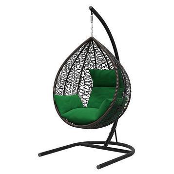 Подвесное кресло «Бароло», капля, цвет коричневый, подушка зелёная, стойка