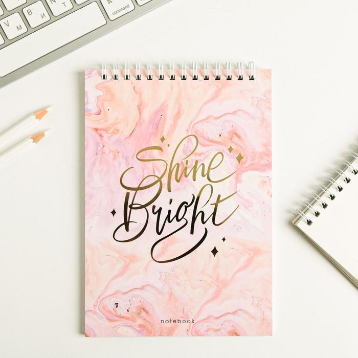 Блокнот с тиснением Shine Bright, на гребне, А5, 40 листов