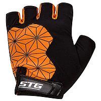 Перчатки велосипедные STG, Replay unisex, цвет черный,оранжевый, размер L