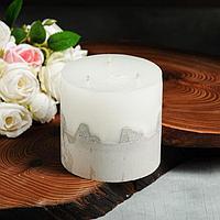 Свеча интерьерная белая с бетоном, 3 фитиля, 10,5 х 12 см
