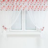 Комплект штор для кухни: тюль- 294х160 см-2 шт, ламбрекен 290х40 см, подхваты