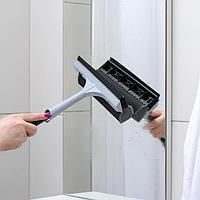 Щётка для мытья окон Quadra Line, с сеткой и ручкой 44 см, цвет серебряный