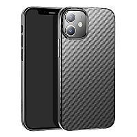 """Защитный чехол для iPhone 12 mini Hoco """"Delicate shadow"""" карбон, черный"""