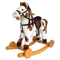 Качалка-лошадка с колесами Pituso белый с коричневыми пятнами